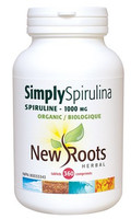New Roots Simply Spirulina Certified Organic 1000 mg, 360 Tablets   NutriFarm.ca