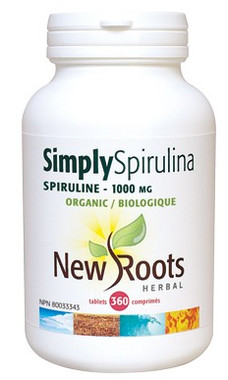 New Roots Simply Spirulina Certified Organic 1000 mg, 360 Tablets | NutriFarm.ca