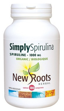 New Roots Simply Spirulina Certified Organic 1000 mg, 180 Tablets | NutriFarm.ca