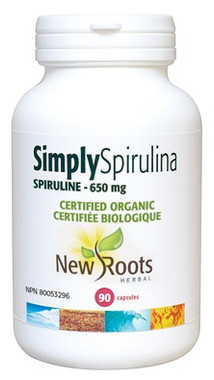New Roots Simply Spirulina Certified Organic 650 mg, 90 Capsules | NutriFarm.ca
