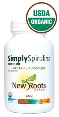 New Roots Simply Spirulina Certified Organic, 227 g | NutriFarm.ca