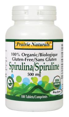 Prairie Naturals Spirulina 500mg, 180 Tablets   NutriFarm.ca