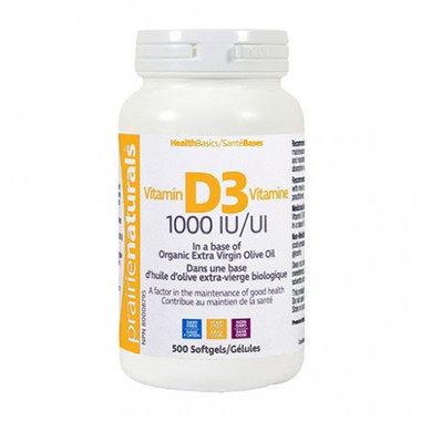 Prairie Naturals Vitamin D3 1000IU, 500 Softgels | NutriFarm.ca
