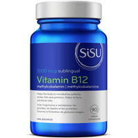 SISU Vitamin B12 1000 mcg Methylcobalamin, 90 sublingual tablets | NutriFarm.ca