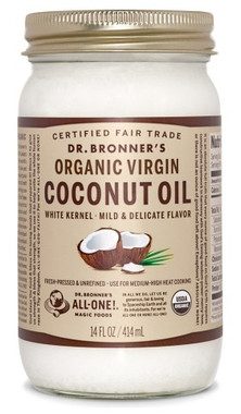 Dr. bronner's White Kernel Organic Virgin Coconut Oil, 414 ml | NutriFarm.ca