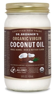 Dr. bronner's Whole Kernel Organic Virgin Coconut Oil, 414 ml | NutriFarm.ca