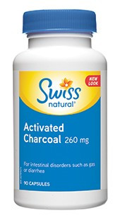 Swiss Natural Activated Charcoal 260mg, 90 Capsules | NutriFarm.ca