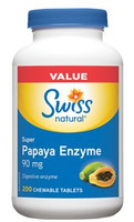 Swiss Natural Super Papaya Enzyme 90mg, 200 Chewable Tablets | NutriFarm.ca
