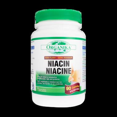 Organika Niacin Non-Flush 500 mg, 90 Capsules | NutriFarm.ca