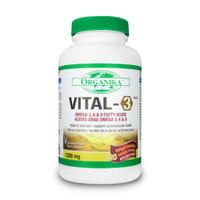 Organika Vital-3 Omega 3,6,9 1200mg, 120 Softgels | NutriFarm.ca