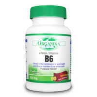 Organika Vitamin B6 (Pyridoxine HCl), 90 Capsules | NutriFarm.ca