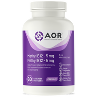 AOR Methyl B12 5 mg(Formerly Methylcobalamin 5 mg), 60 Lozenges | NutriFarm.ca