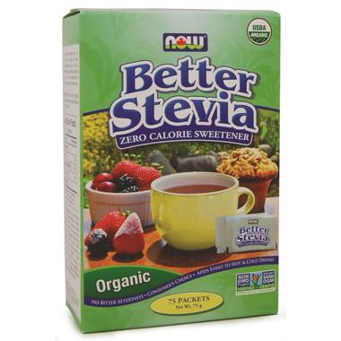NOW Better Stevia Organic, 75 Packets | NutriFarm.ca