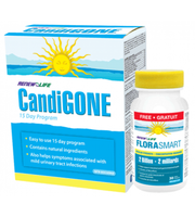 RENEW LIFE CandiGONE kit, 15 days kit + FloraSmart 2 Billion, 30 Tablets (Free) | NutriFarm.ca