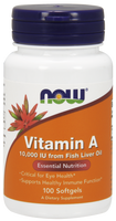 NOW Vitamin A 10,000 IU, 100 Softgels | NutriFarm.ca