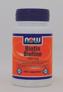 NOW Biotin 1000 mcg, 100 Capsules | NutriFarm.ca