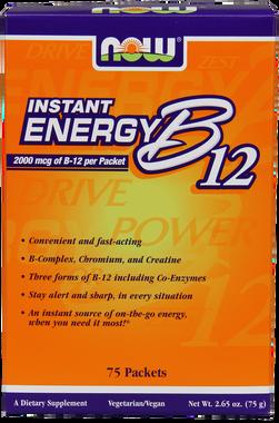 NOW B12 Instant Energy 2000 mcg B12, 75 Packets | NutriFarm.ca