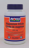 NOW Magnesium Citrate 200 mg, 100 Tablets | NutriFarm.ca