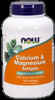NOW Calcium and Magnesium, 120 Softgels | NutriFarm.ca