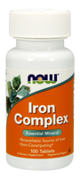 NOW Iron Complex, 100 Tablets | NutriFarm.ca