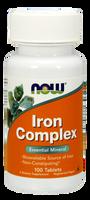 NOW Iron Complex, 100 Tablets | NutriFarm.ca