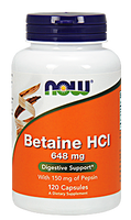 NOW Betaine HCL 648 mg with Pepsin, 120 Capsules | NutriFarm.ca