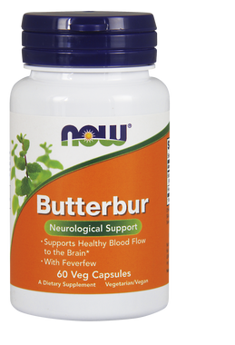 NOW ButterBur Extract 75 mg, 60 Vegetable Capsules | NutriFarm.ca
