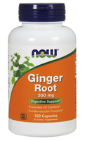 NOW Ginger Root 550 mg, 100 Capsules | NutriFarm.ca