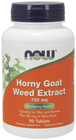NOW Horny Goat Weed 750 mg, 90 Tablets | NutriFarm.ca