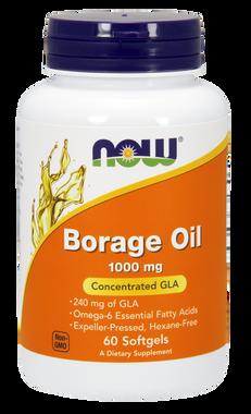 NOW Borage Oil 1000 mg, 60 Softgels   NutriFarm.ca