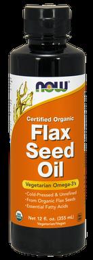 NOW Organic Flax Oil Liquid, 355 ml   NutriFarm.ca