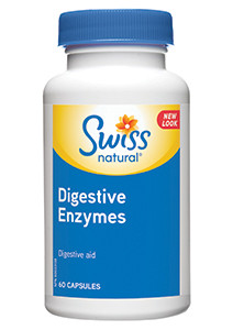 Swiss Natural Digestive Enzymes 500mg, 60 + 15 Free Capsules | NutriFarm.ca