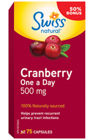 Swiss Natural Cranberry One A Day 500 mg, 50 + 15 Free Capsules | NutriFarm.ca