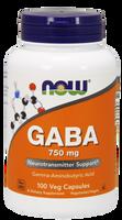 NOW Gaba Extra Strength 750 mg, 100 Vegetable Capsules | NutriFarm.ca