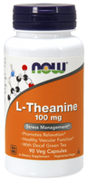 NOW L-Theanine 100 mg, 90 Vegetable Capsules | NutriFarm.ca