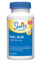 Swiss Natural Folic Acid 1mg, 90 Tablets | NutriFarm.ca
