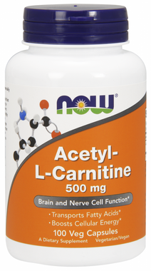 NOW Acetyl L-Carnitine 500 mg, 100 Vegetable Capsules | NutriFarm.ca