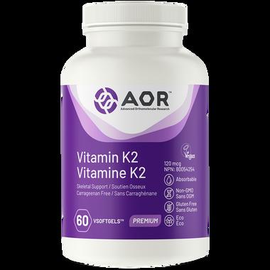 AOR Vitamin K2, 60 Softgels   NutriFarm.ca