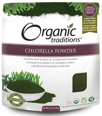 Organic Traditions Chlorella Powder, 150 g | NutriFarm.ca