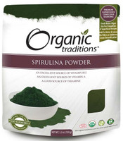 Organic Traditions Spirulina Powder, 150 g | NutriFarm.ca