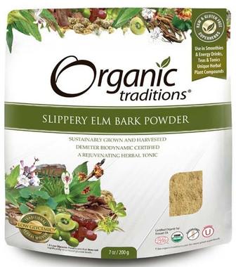 Organic Traditions Slippery Elm Bark Powder, 200 g | NutriFarm.ca