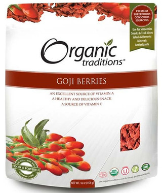 Organic Traditions Goji Berries, 454 g | NutriFarm.ca