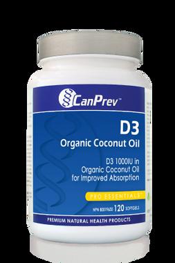 CanPrev D3 Organic Coconut Oil, 120 Softgels | NutriFarm.ca