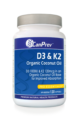 CanPrev D3 & K2 Organic Coconut Oil, 120 Softgels | NutriFarm.ca