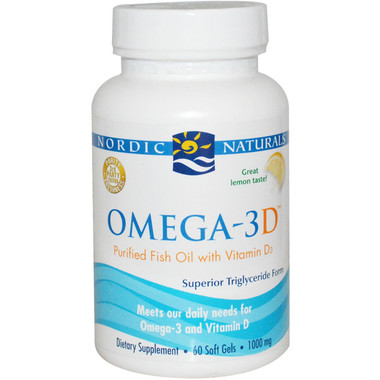 Nordic Naturals Omega 3D Lemon Flavour,  60 Softgels | NutriFarm.ca