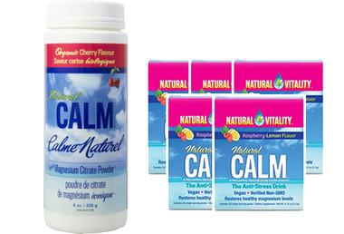 Natural Calm Magnesium Cherry, 226 g (8 oz) + 5 Packets FREE | NutriFarm.ca