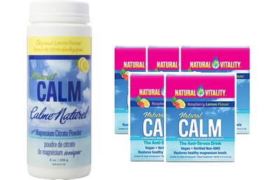 Natural Calm Magnesium Lemon, 226 g (8 oz) + 5 Packets FREE | NutriFarm.ca