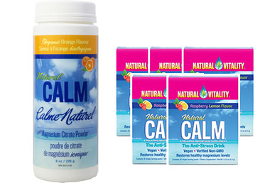 Natural Calm Magnesium Orange, 226 g (8 oz) + 5 Packets FREE | NutriFarm.ca