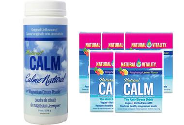 Natural Calm Magnesium Plain, 226 g (8 oz) + 5 Packets FREE | NutriFarm.ca