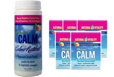 Natural Calm Magnesium Raspberry Lemon, 226 g (8 oz) + 5 Packets FREE | NutriFarm.ca
